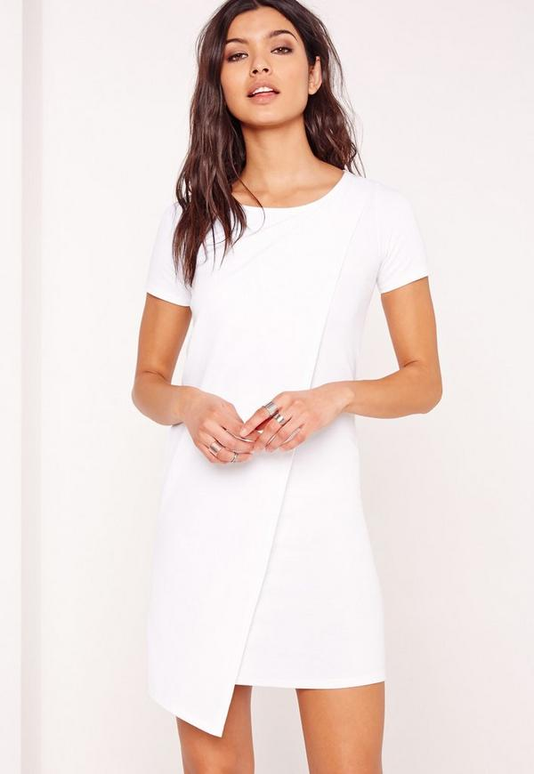 Ponte Wrap Shift Dress White