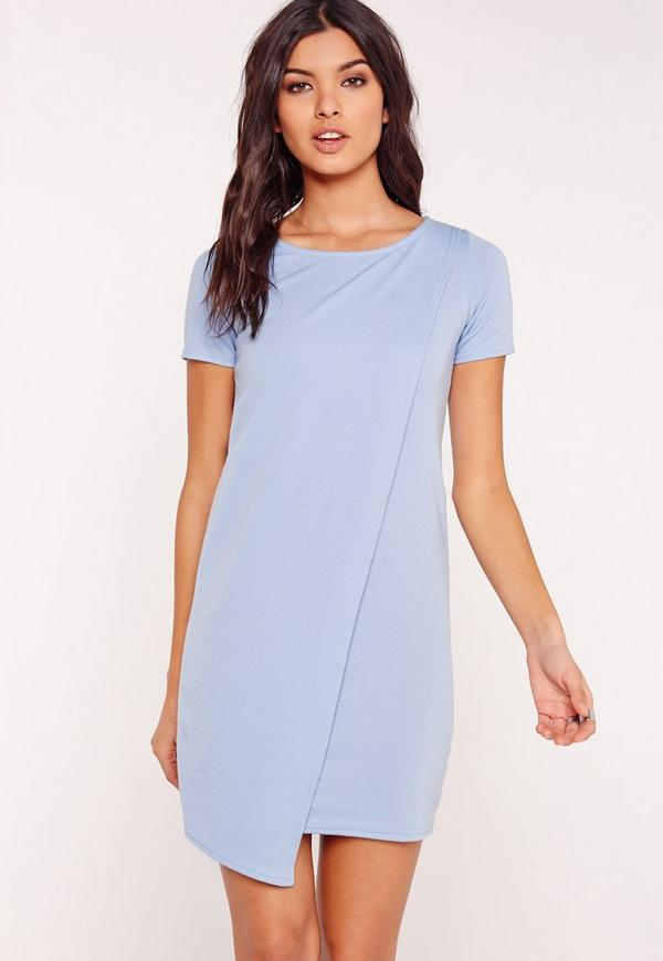 Ponte Wrap Shift Dress Blue