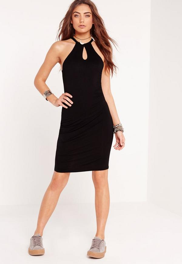 Keyhole Bodycon Dress Black