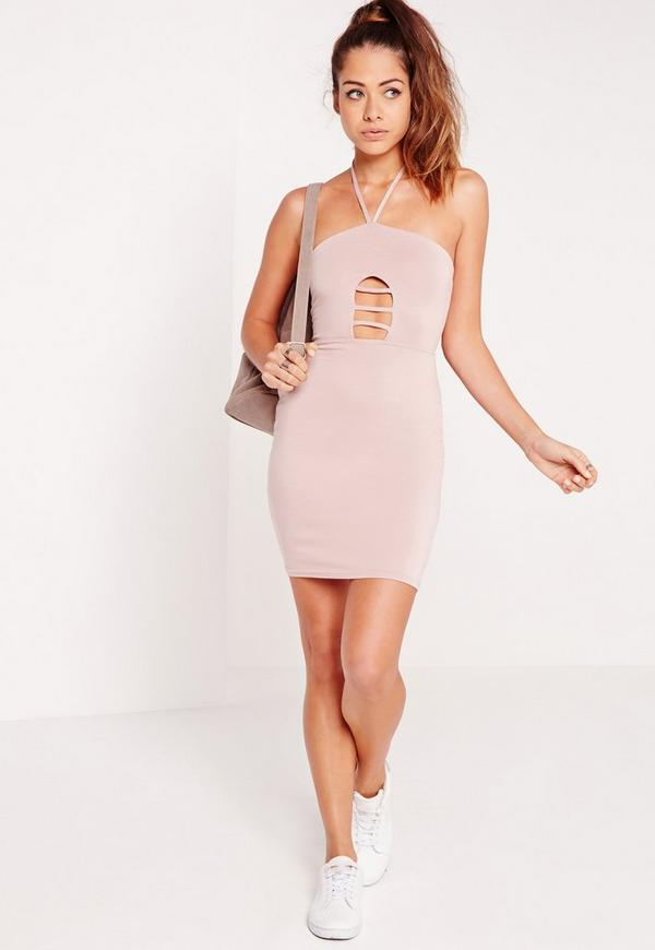 Cage Front Halterneck Bodycon Dress Nude