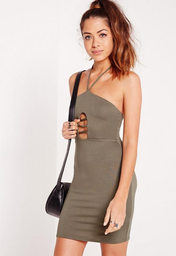 Cage Front Halterneck Bodycon Dress Khaki