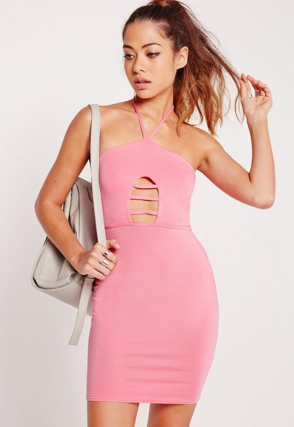 Cage Front Halterneck Bodycon Dress Candy Pink
