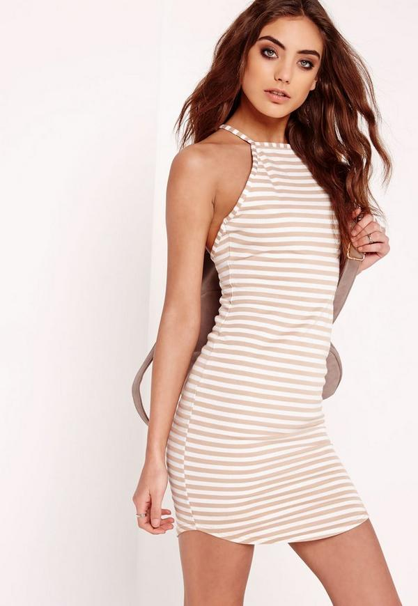 Curve Hem Strappy Bodycon Dress Camel Stripe