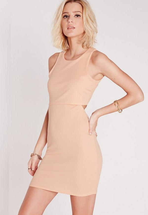 Cut Out Back Overlay Rib Dress Nude