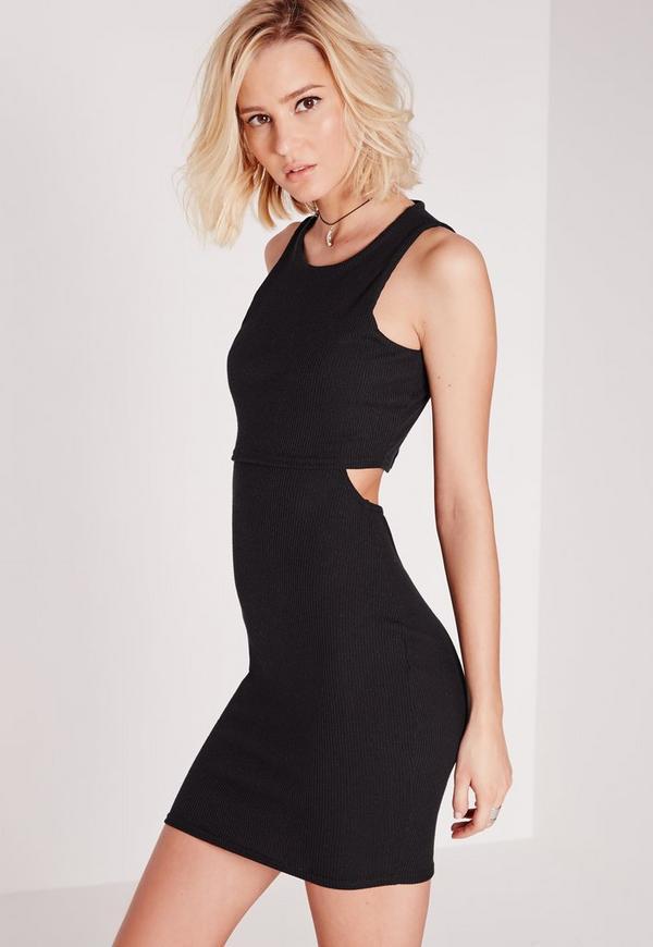 Cut Out Back Overlay Rib Dress Black