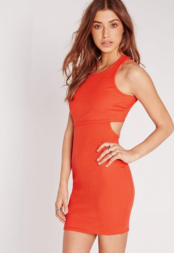 Cut Out Back Overlay Rib Dress Orange
