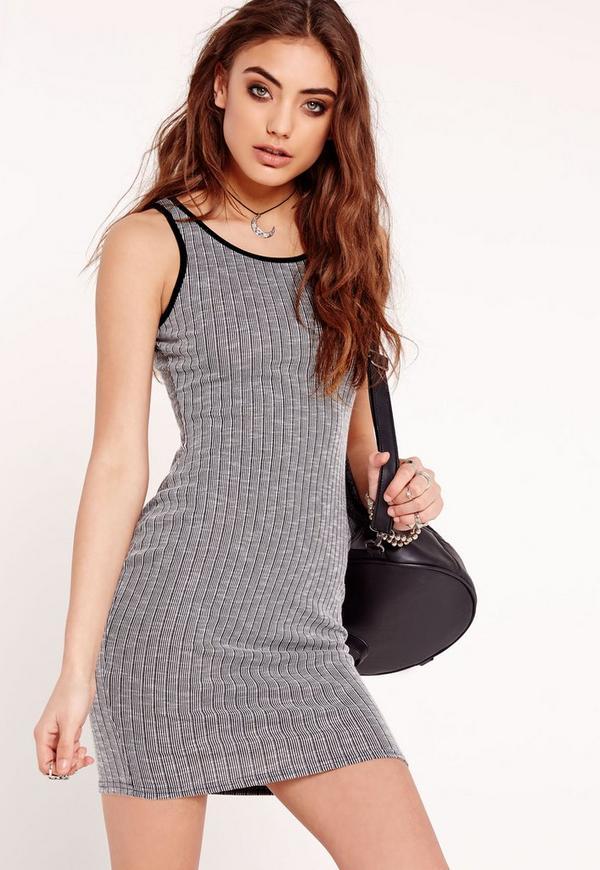 Sleeveless Contrast Rib Bodycon Dress Grey