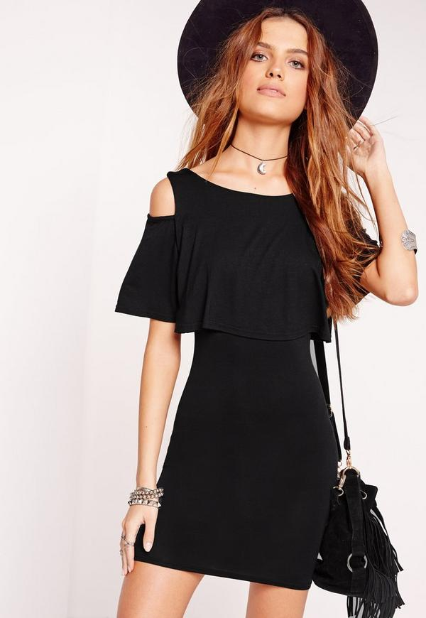 Cold Shoulder Frill Bodycon Dress Black