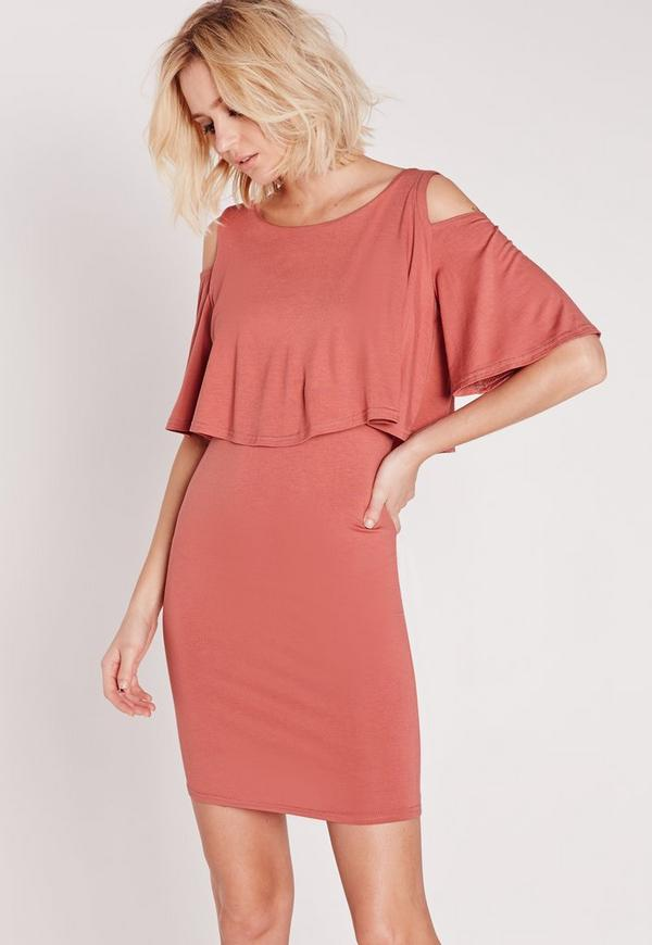 Cold Shoulder Frill Bodycon Dress Pink
