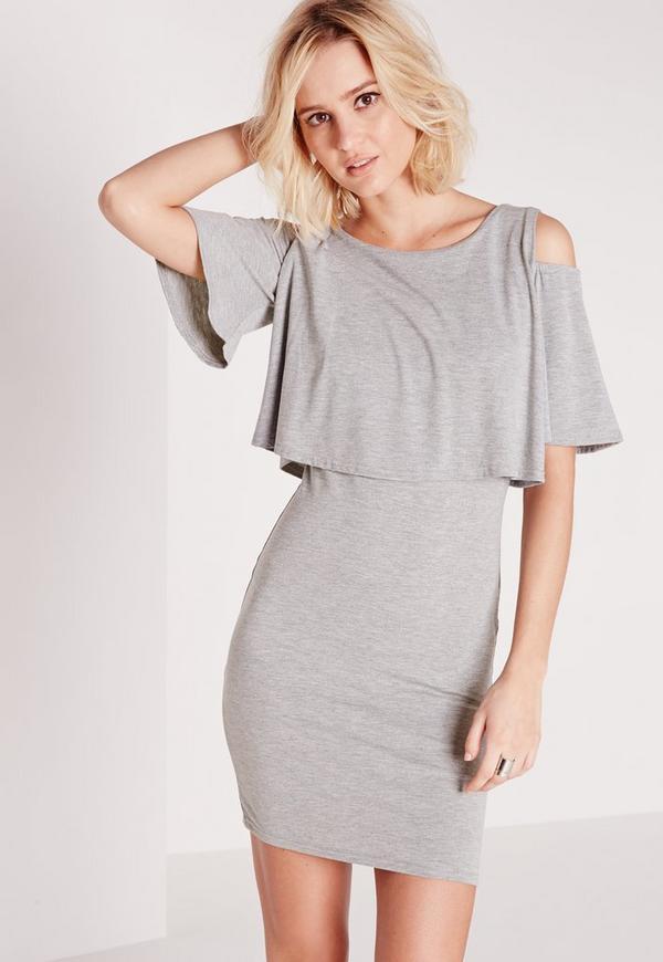 Cold Shoulder Frill Bodycon Dress Grey