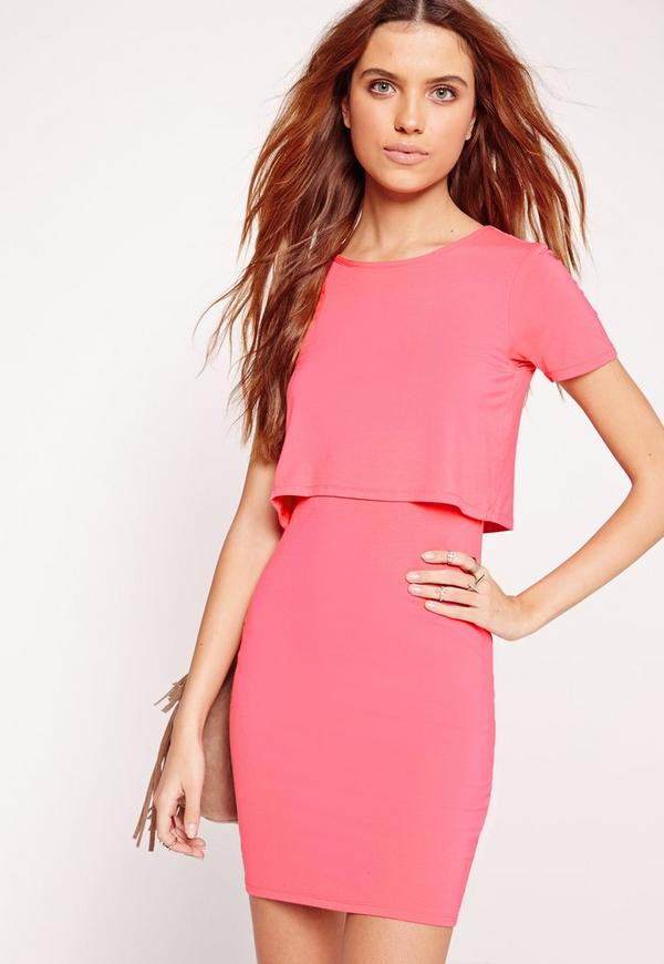 Jersey Overlay Bodycon Dress Pink