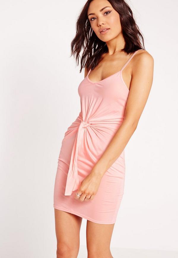 Tie Waist Bodycon Dress Candy Pink