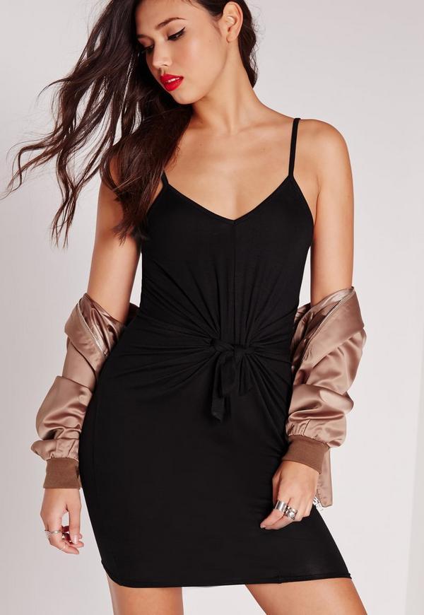 Tie Waist Bodycon Dress Black