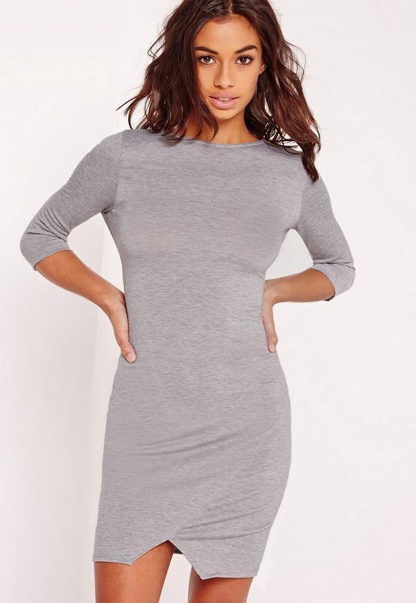 Wrap Hem Knitted Bodycon Dress Grey