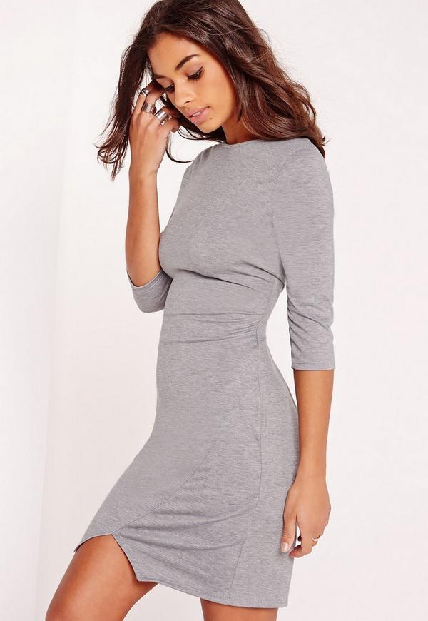 robe moulante grise en jersey avec encoche missguided. Black Bedroom Furniture Sets. Home Design Ideas