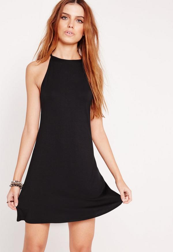 90's Neck Swing Dress Black