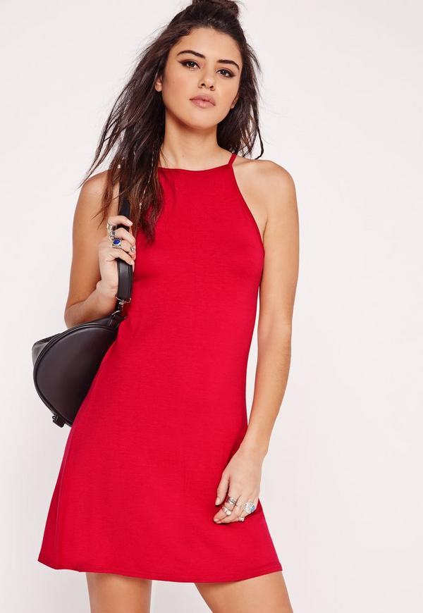 90's Neck Swing Dress Red