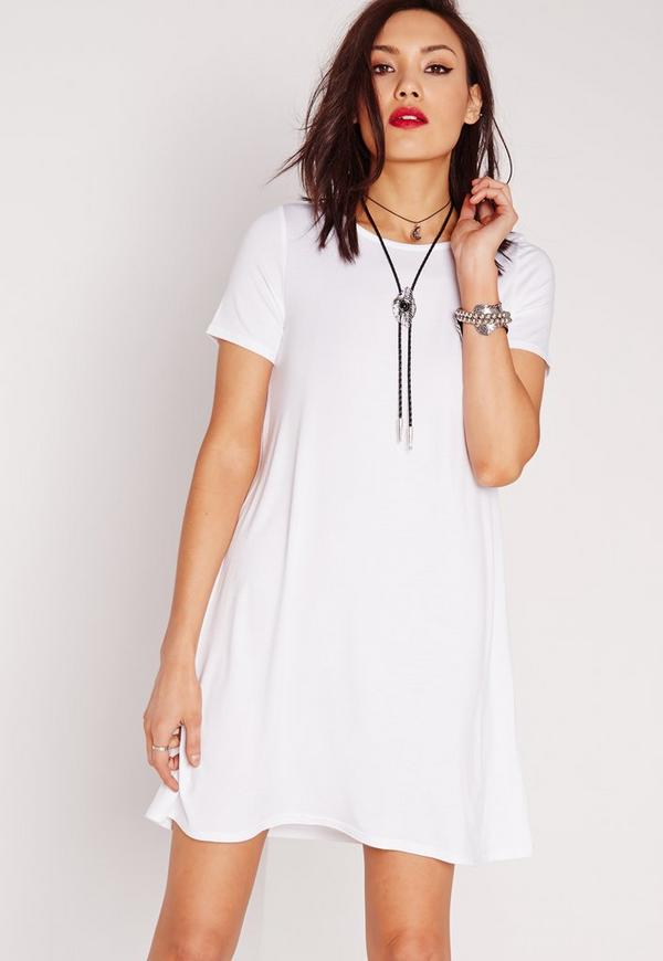 Short Sleeve Oversized Asymmetric Swing Dress White