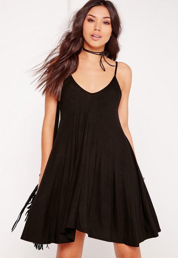 Strappy Swing Dress Black
