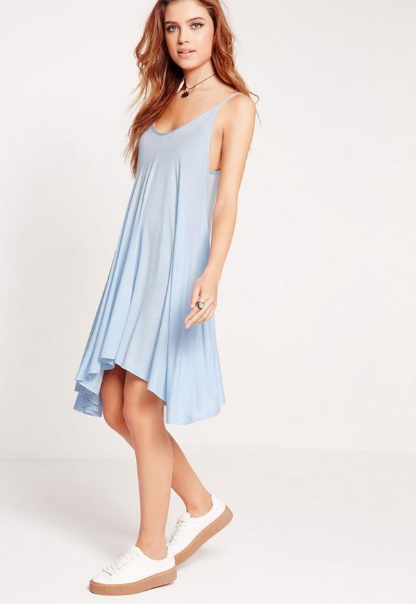 Strappy Hanky Hem Swing Dress Blue
