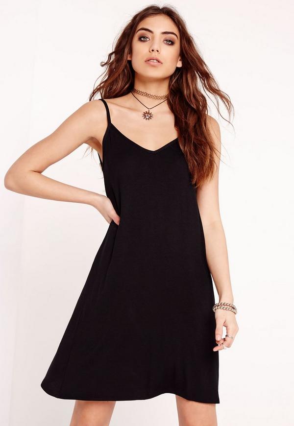Strappy Jersey Swing Dress Black