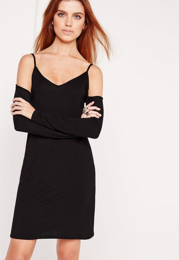 Cold Shoulder Long Sleeve Swing Dress Black