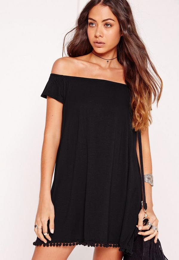 Bardot Pom Pom Hem Swing Dress Black