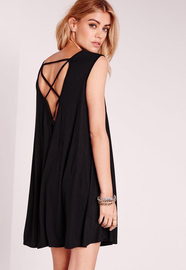 Sleeveless Cross Back Swing Dress Black