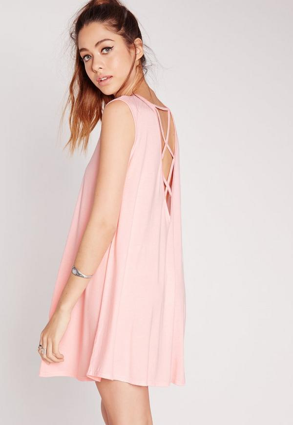 Sleeveless Cross Back Swing Dress Pink