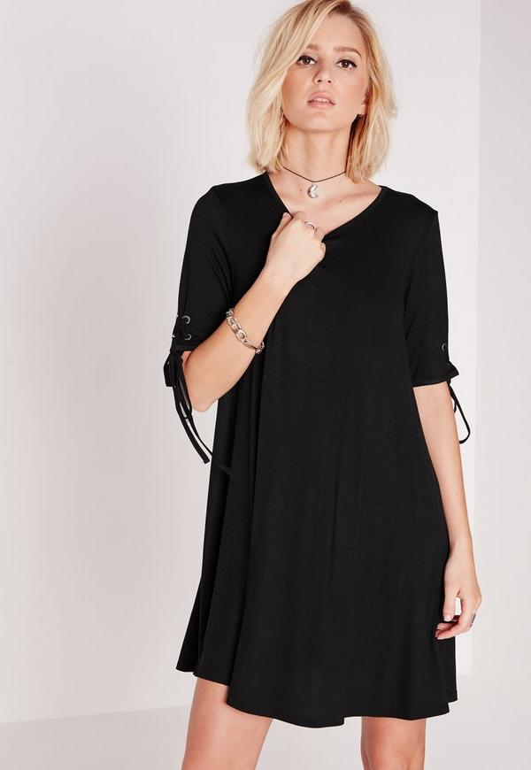 Tie Swing Dress Black
