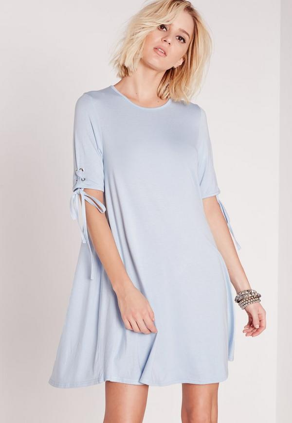 Tie Sleeve Swing Dress Powder Blue