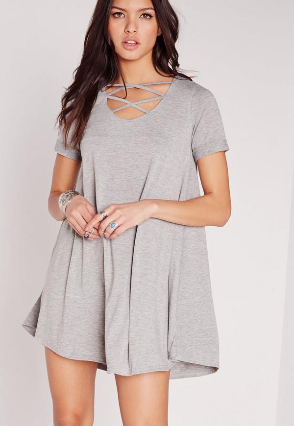 Lattice Front Short Sleeve Swing Dress Grey