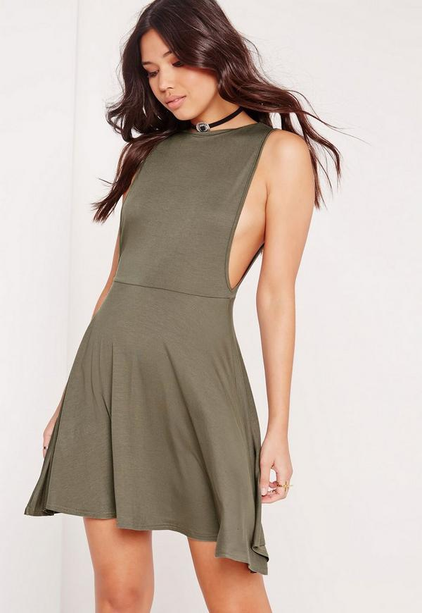 Low Armhole Scoop Back Skater Dress Khaki