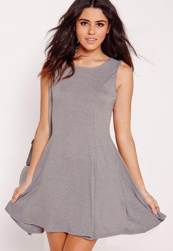 Sleeveless Skater Dress Grey Marl