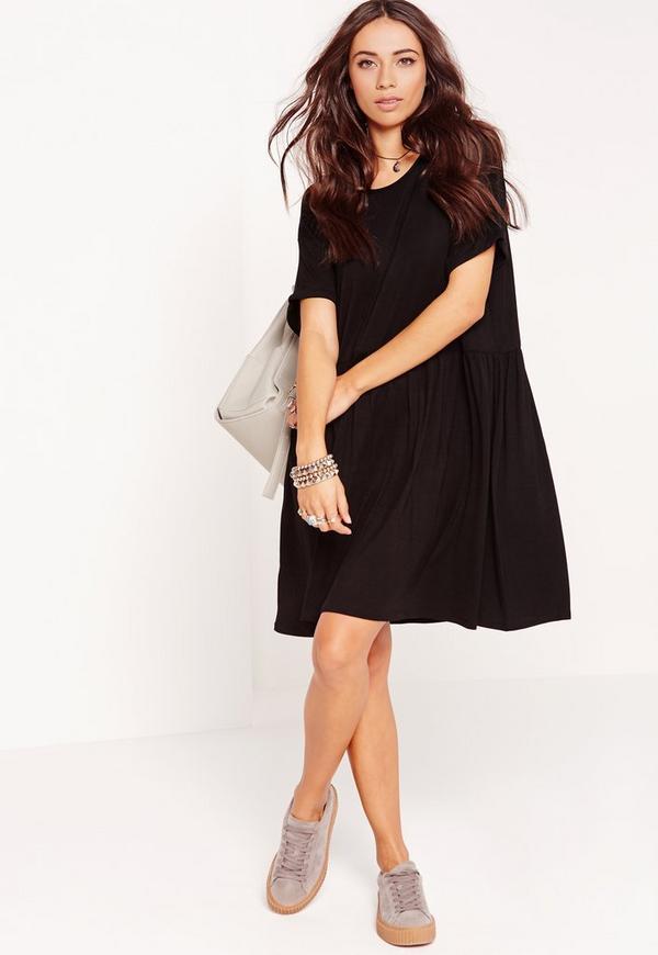 Short Sleeve Oversized Smock Skater Dress Black
