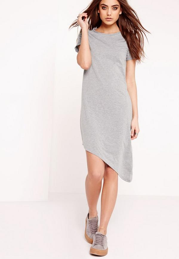 Asymmetric Hem T-Shirt Dress Grey