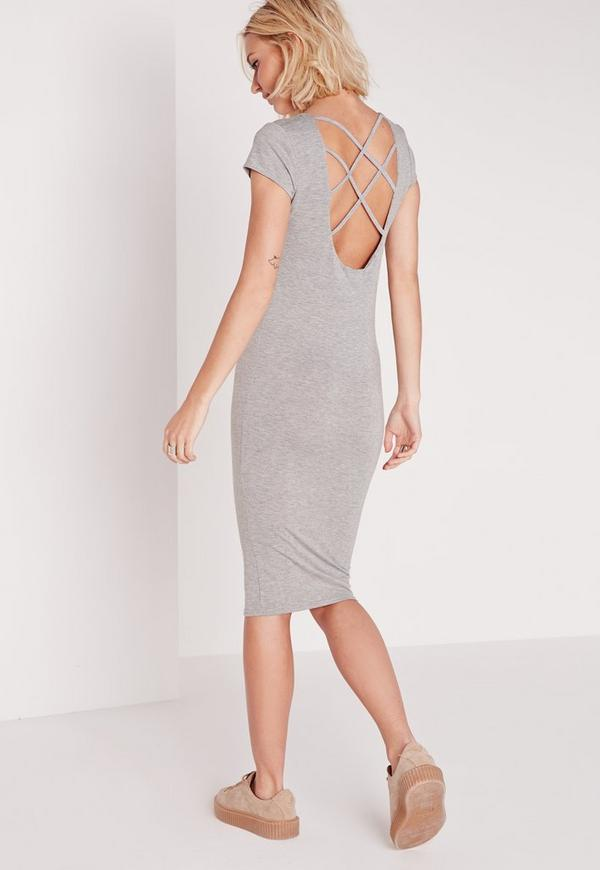 Cross Back Midi Bodycon Dress Grey