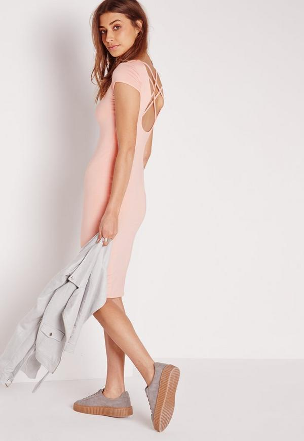 Cross Back Midi Bodycon Dress Nude