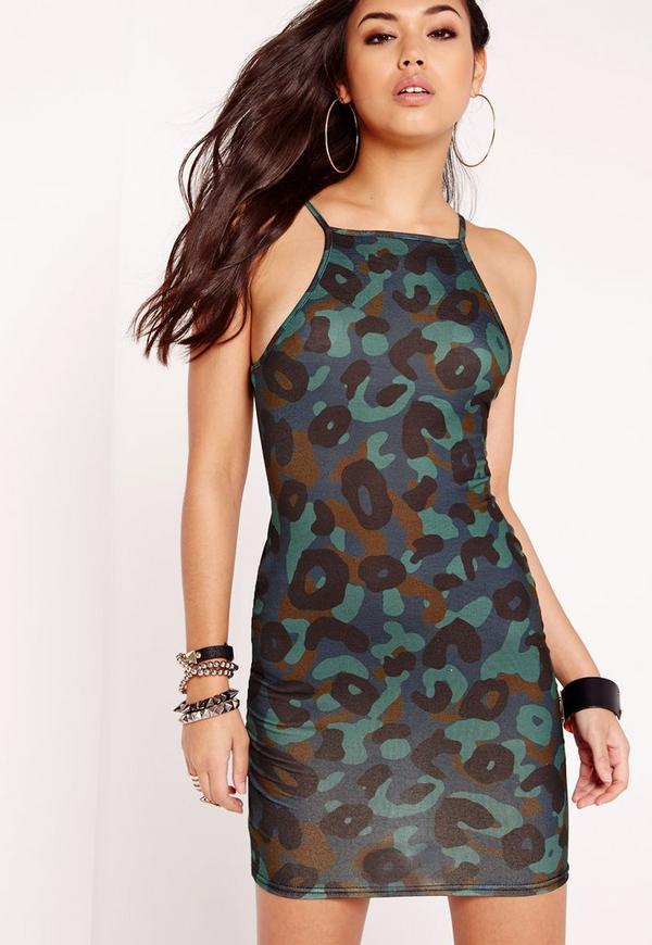 Strappy Bodycon Dress Camo Print