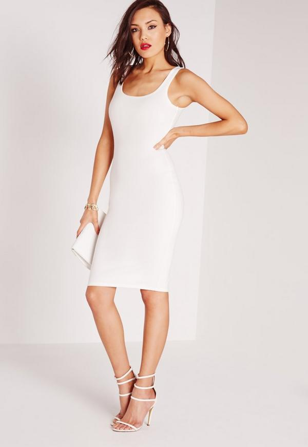Square Neck Ponte Dress White