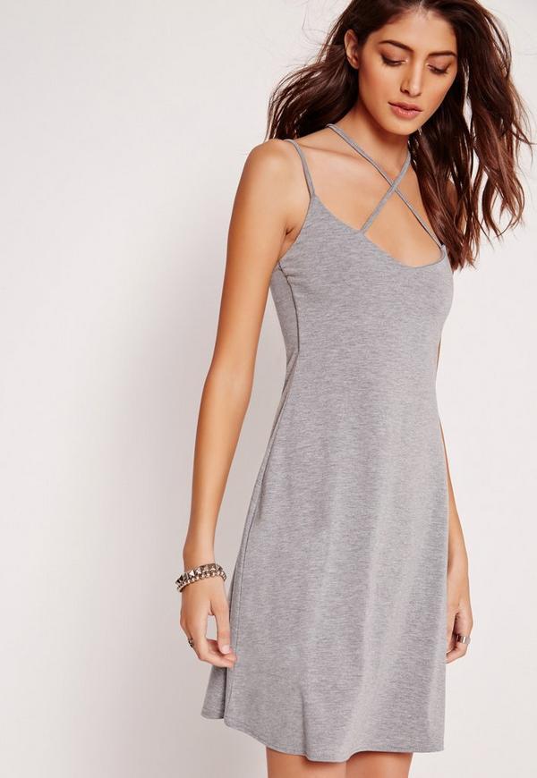 Strappy Swing Dress Grey