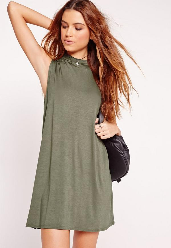High Neck Sleeveless Swing Dress Khaki