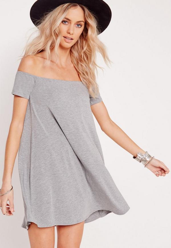 Bardot Short Sleeve Swing Dress Grey