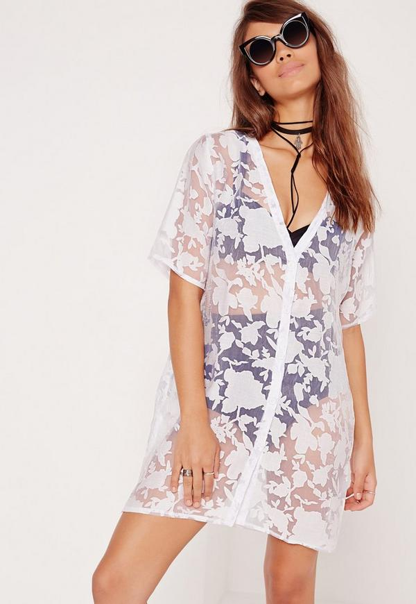 Floral Mesh Print Shirt Dress White
