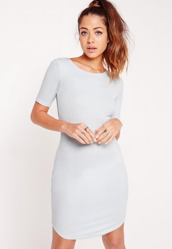 Ribbed Curve Hem Bodycon Dress Blue