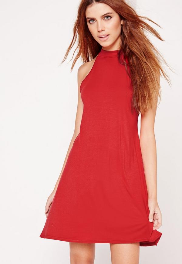 Racer Neck Sleeveless Swing Dress Red