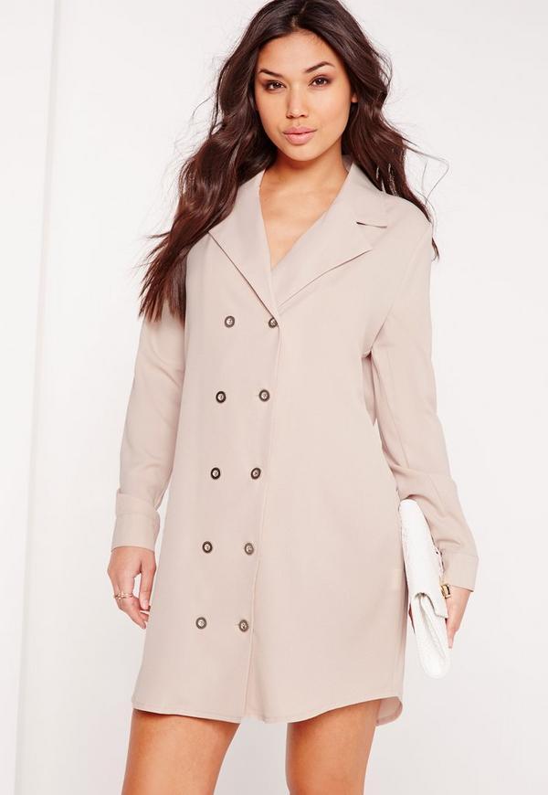 Double Button Curved Hem Shirt Dress Grey