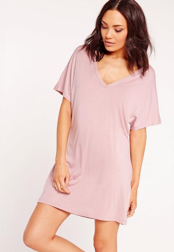 Wide V-Neck T- Shirt Dress Mauve