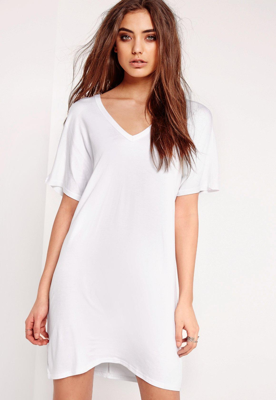 Wide V-Neck T-Shirt Dress White | Missguided