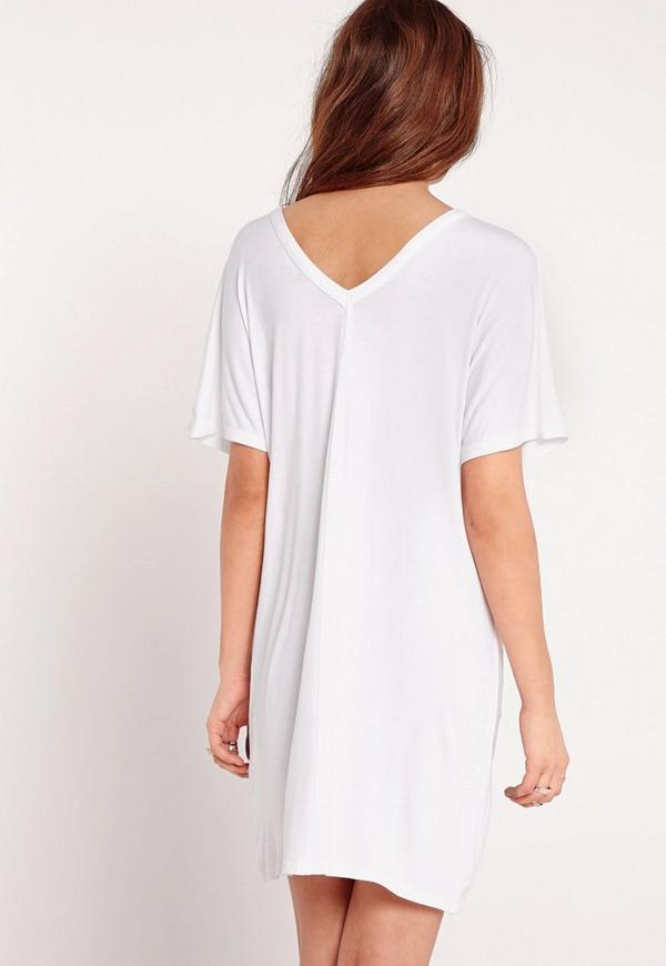 wide v neck t shirt dress white missguided